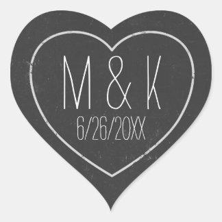 Chalkboard Wedding Date Chalk Effect Heart Sticker
