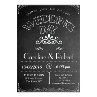"""Chalkboard """"Wedding Day"""" Wedding  Invitation"""