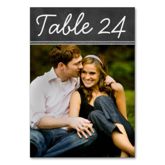 Chalkboard Wedding Photo Table Number Card