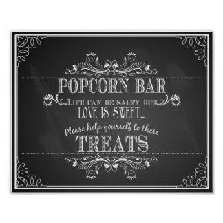 Chalkboard Wedding Popcorn Bar table print
