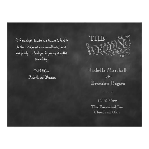Chalkboard Wedding Program Personalized Flyer