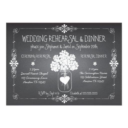 Chalkboard Wedding Rehearsal & Dinner Mason Jar Cards