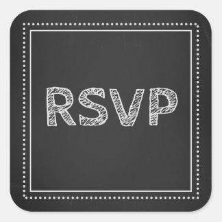 Chalkboard Wedding RSVP Envelope Seals Square Sticker