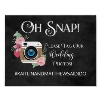 Chalkboard Wedding Sign Photos Hashtag