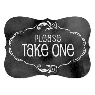 Chalkboard Wedding Sign: Please Take One Card