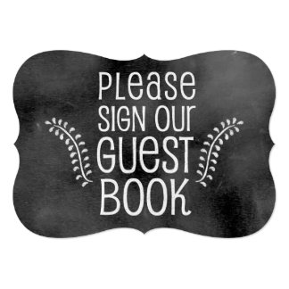 Chalkboard Wedding Sign: Sign Guestbook Card