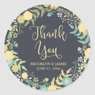 Chalkboard Wedding Stickers Round Yellow Wreath