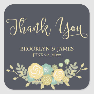 Chalkboard Wedding Stickers Square Yellow Flowers