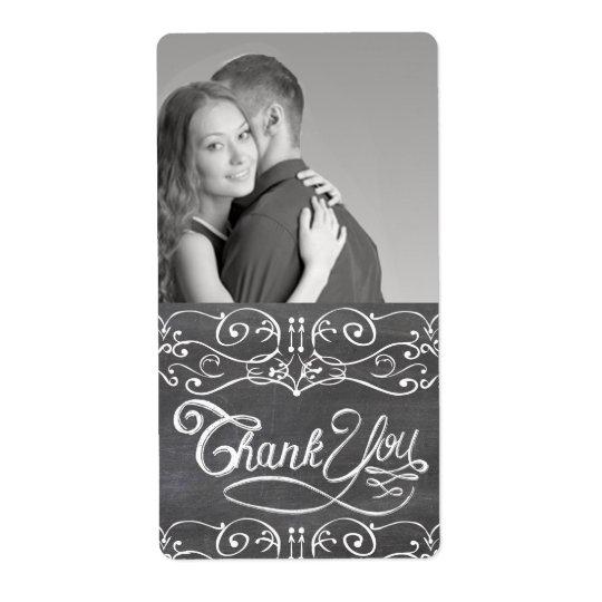 Chalkboard Wedding Thank You Wine Label Shipping Label