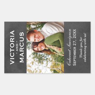 Chalkboard Wedding Wine Bottle Monogram Favour Rectangular Sticker