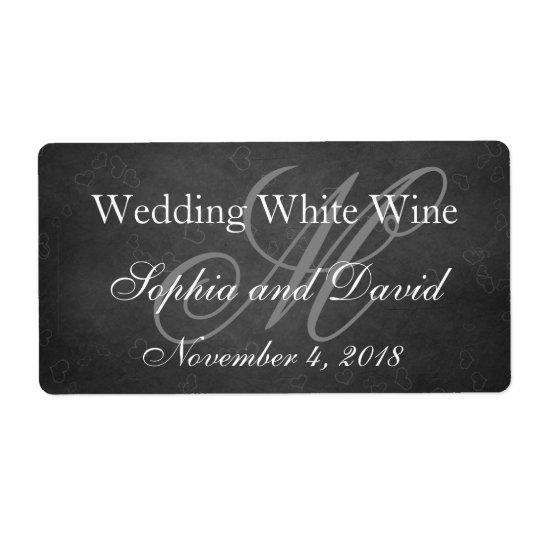 Chalkboard Wedding Wine Label Monogram Initial