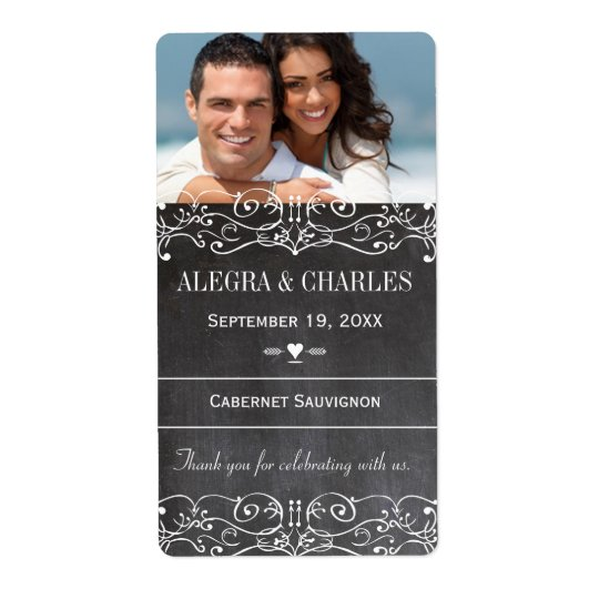 Chalkboard Wedding Wine Label Shipping Label