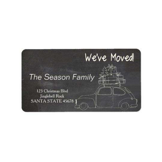 """chalkboard """"we've moved"""" Christmas label Address Label"""