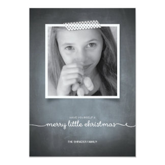 "Chalkboard White Washi Tape Holiday Photo Card 5"" X 7"" Invitation Card"