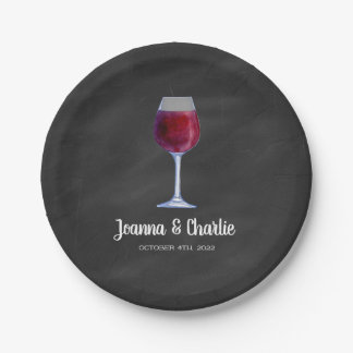 Chalkboard Wine Personalized Paper Plates