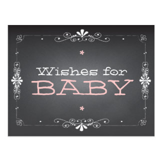 Chalkboard Wishes for Baby Shower Activity Card Postcard