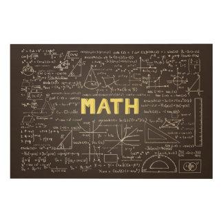 Chalkboard with math elements Wood Wall Art