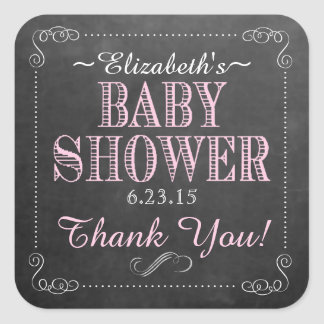 Chalkboard with Pink Typography Baby Shower Favor Square Sticker