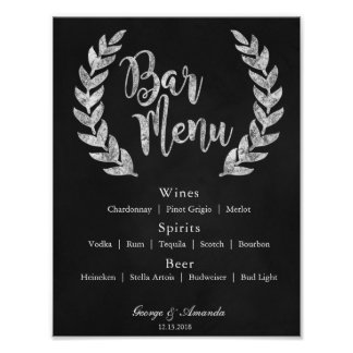 Chalkboard Wreath Bar Menu Poster