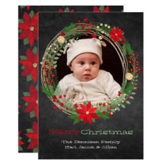 Chalkboard Wreath Christmas Photo Greeting Card