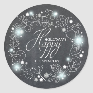 Chalkboard Wreath Holiday Greetings Round Sticker