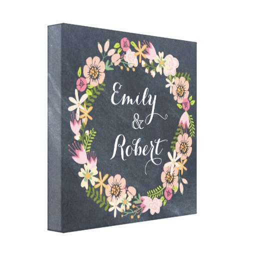 Chalkboard Wreath Name Canvas Gallery Wrapped Canvas