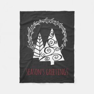 Chalkboard Wreath Season's Greetings Christmas Fleece Blanket