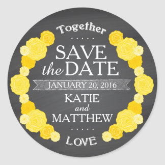 Chalkboard Yellow Roses Save the Date Gift Label Round Sticker