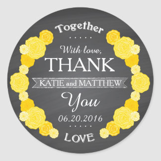 Chalkboard Yellow Roses Thank You Gift Label