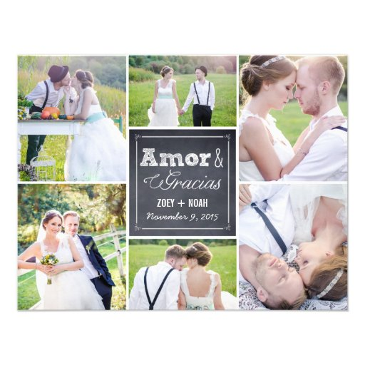 Chalked boda del collage le agradece las tarjetas invitation