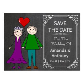 Chalked cartoon wedding couple postcard