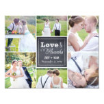 Chalked Collage Wedding Photo Thank You Card Personalised Announcement