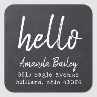 Chalked Hello Return Address Label