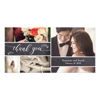 Chalked, Photo Collage Rustic Wedding Thank You Card