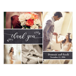 Chalked, Photo Collage Rustic Wedding Thank You Postcard