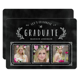 Chalked Wreath Graduation Invitation