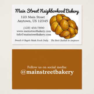 Challah Bread Bakery Baker Jewish Food Baking Cu Business Card