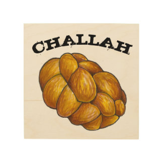 Challah Bread Jewish Holiday Cuisine Food Kitchen Wood Print