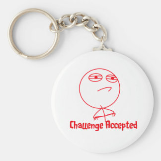 Challenge Accepted (In Red!) Basic Round Button Key Ring