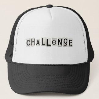 Challenge word concept. trucker hat
