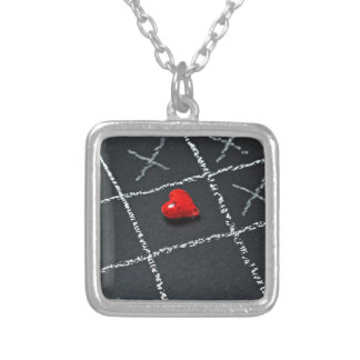 Challenged love silver plated necklace