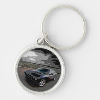 Challenger srt8 Silver-Colored round key ring