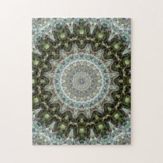 Challenging Frosty Green Leaf Mandala Jigsaw Puzzle