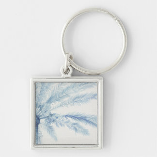 Chambray Palms II Silver-Colored Square Key Ring