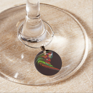 Chameleon Abstract Art Wine Charm