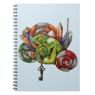 chameleon and crystals spiral notebook