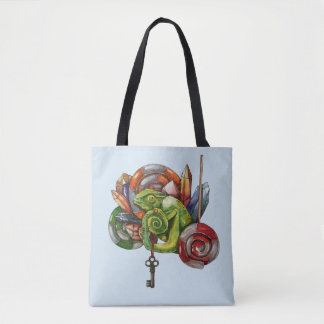 chameleon and crystals tote bag