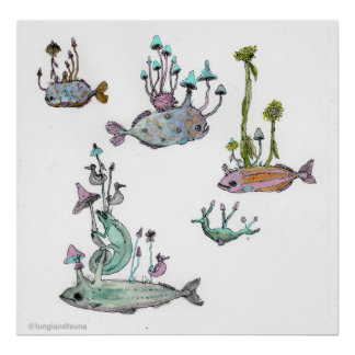 Chameleon and Sea Horse Poster