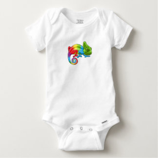 Chameleon Cartoon Rainbow Character Baby Onesie
