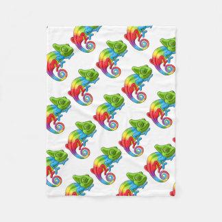 Chameleon Cartoon Rainbow Character Fleece Blanket
